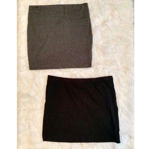 🔥30%OFF🔥BUNDLE TWO MINI SKIRTS grey/black  L